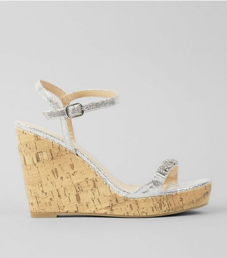 Silver Metallic Embellished Cork Wedge Heels | New Look