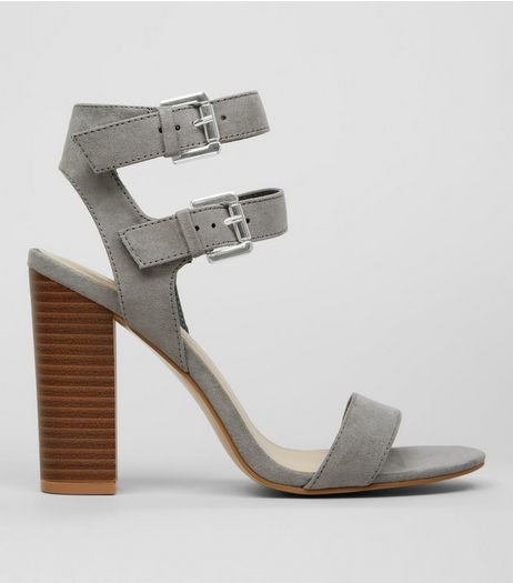 Grey Suedette Double Buckle Heeled Sandals | New Look