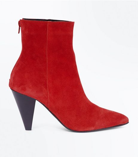 Red Leather Cone Heel Pointed Boots | New Look