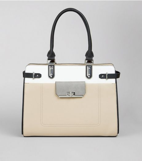 Nude Colour Block Structured Tote Bag | New Look