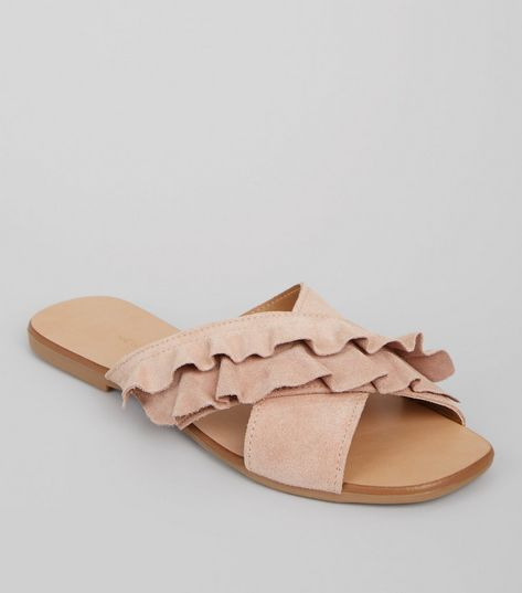Wide Fit Pink Suede Frill Strap Mules | New Look