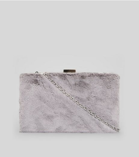 Grey Faux Fur Clutch Bag | New Look