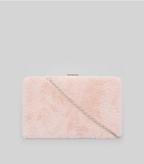 Pink Faux Fur Clutch Bag | New Look