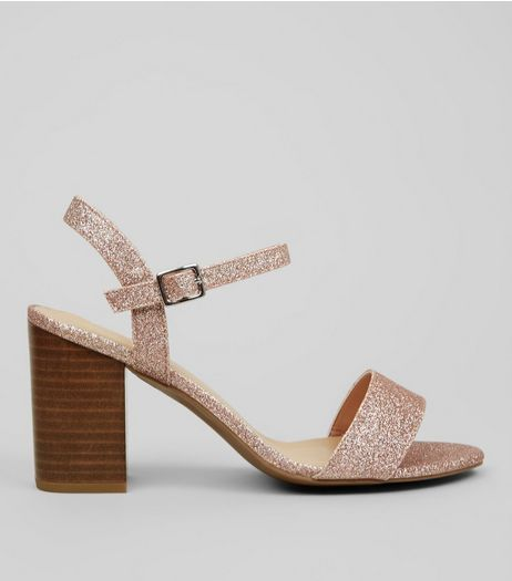 Wide Fit Rose Gold Heeled Sandals  | New Look
