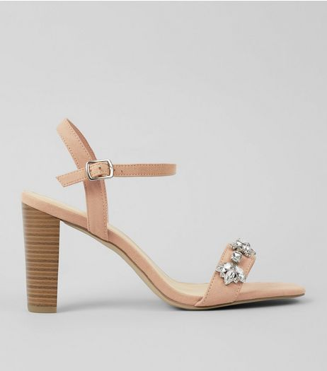 Wide Fit Cream Suedette Embellished Heeled Sandals | New Look
