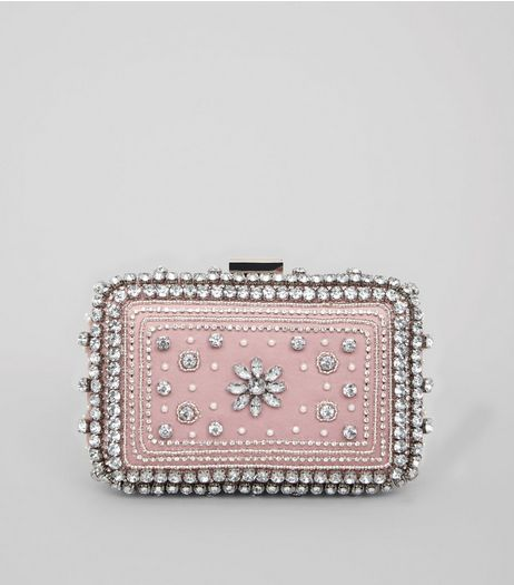 Pink Diamante Embellished Clutch Bag | New Look