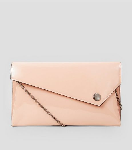 Shell Pink Patent Clutch  | New Look