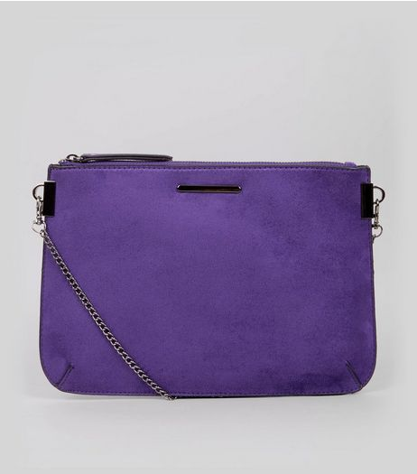 Purple Suedette Curve Flat Clutch  | New Look