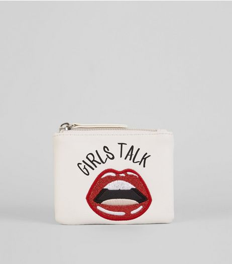White Embroidered Glitter Lips Zip Top Purse | New Look