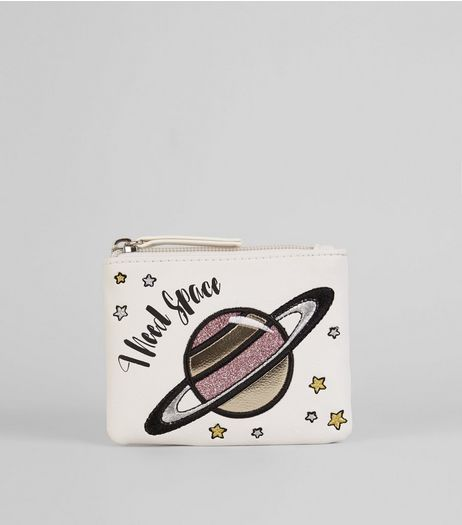 White 'I Need Space' Coin Purse | New Look