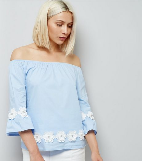 Blue Vanilla Blue Daisy Hem Bardot Neck Top  | New Look