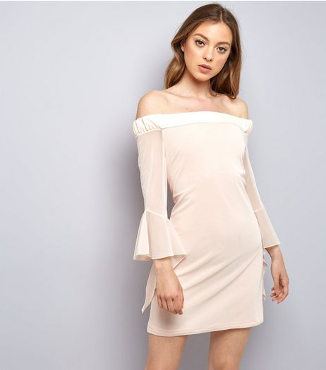 Blue Vanilla Shell Pink Frill Mesh Sleeve Dress | New Look