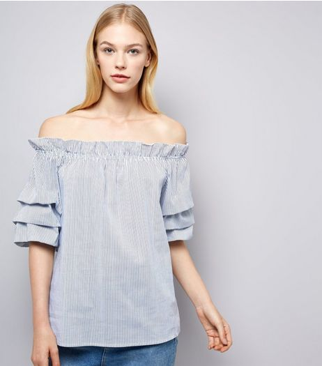 Cameo Rose Blue Stripe Frill Trim Bardot Top | New Look