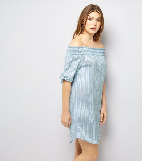 Cameo Rose Blue Stripe Bardot Neck Dress | New Look