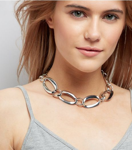 Silver Large Link Chain Chocker  | New Look