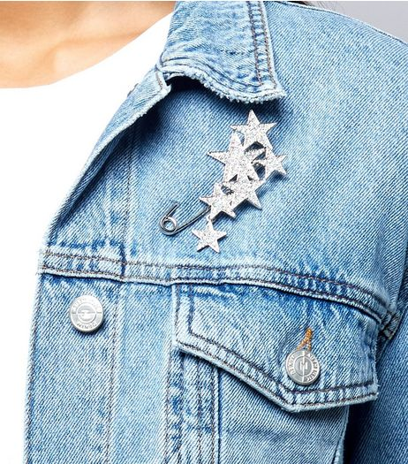 Silver Star Diamante Embellished Safety Pin  | New Look
