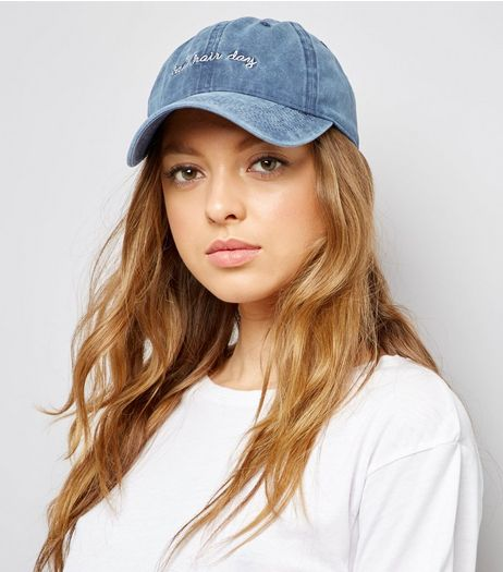 Blue Denim Bag Hair Day Cap | New Look