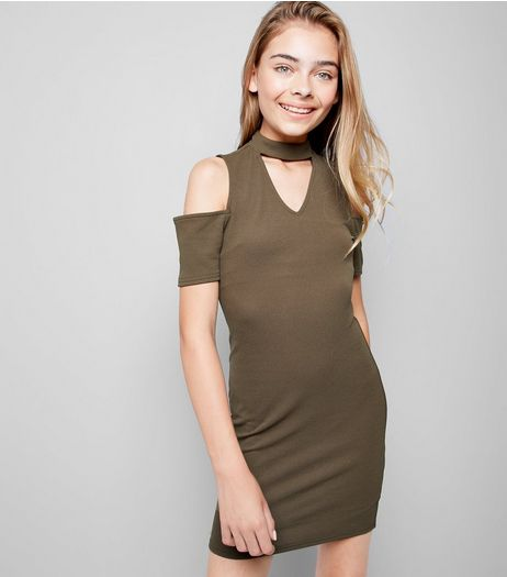 Teens Khaki Cold Shoulder Choker Dress  | New Look