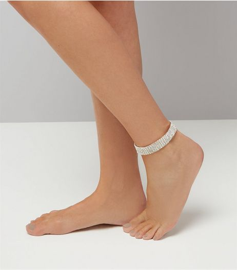Clear Crystal Anklet  | New Look