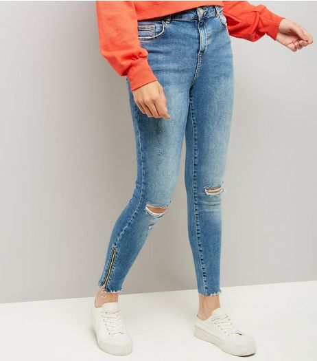 Blue Zip Hem Skinny Jeans  | New Look