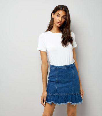 Blue Denim Peplum Hem Skirt