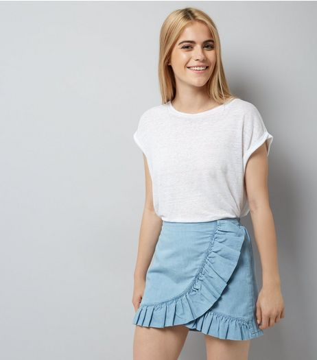 Blue Cotton Frill Wrap Skort | New Look