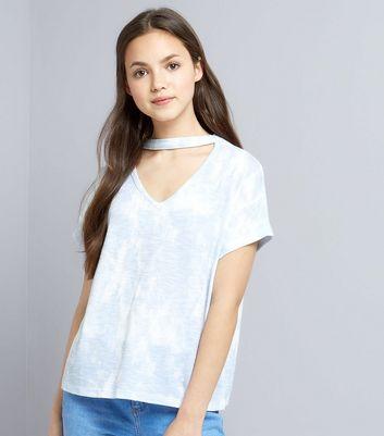 Teens Blue Tie Dye Choker Neck T-Shirt