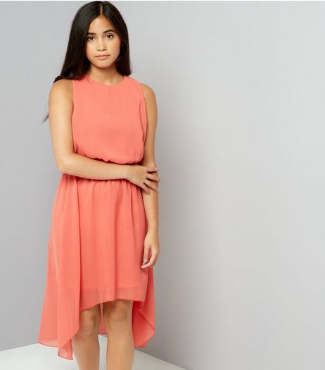 Teens Orange Dip Hem Chiffon Dress | New Look