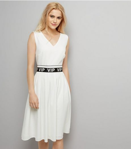 White VIP Belt V Neck Dress | New Look