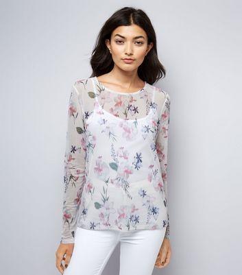 White Floral Print Mesh Long Sleeve Top