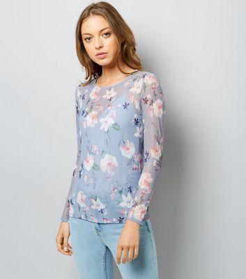 Blue Floral Print Mesh Long Sleeve Top