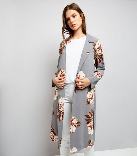 Cameo Rose Light Grey Floral Print Duster Coat  | New Look