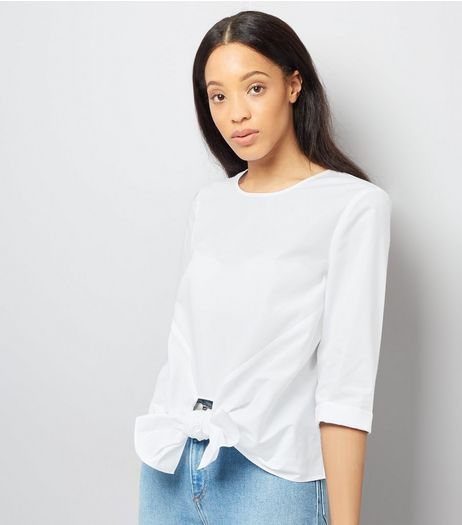 White Knot Front Blouse | New Look