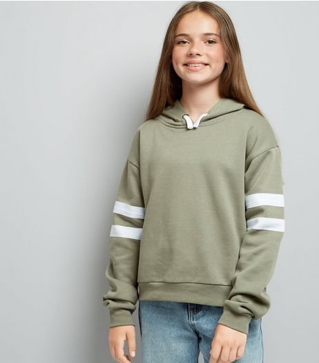Teens Khaki Stripe Sleeve Hoodie  | New Look