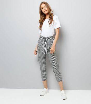 White Stripe Tie Waist Trousers
