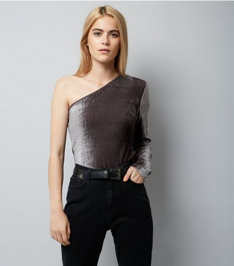 Pink Vanilla Grey One Shoulder Velvet Bodysuit | New Look