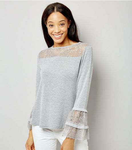 Blue Vanilla Grey Lace Frill Sleeve Top | New Look