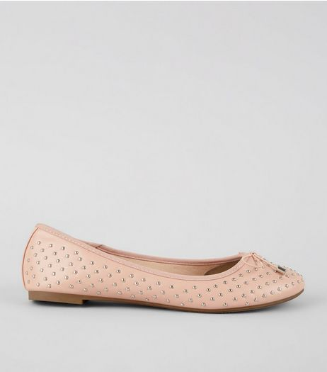 Wide Fit Pink Stud Detail Ballet Pumps | New Look