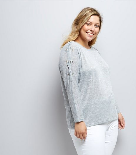 Curves Grey Eyelet Batwing Jumper  | New Look