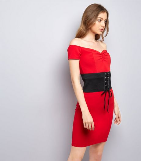 Pink Vanilla Red Corset Belt Bardot Dress | New Look