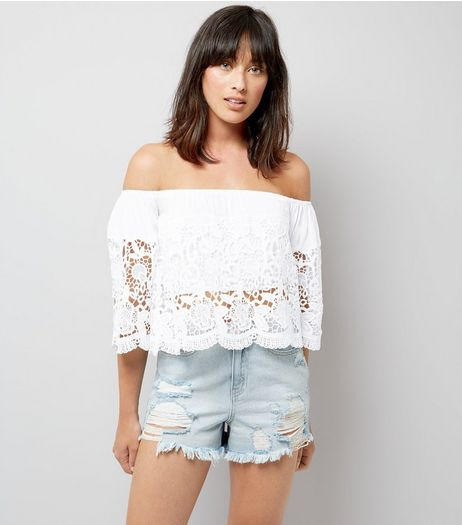 Blue Vanilla White Lace Bardot Neck Top  | New Look