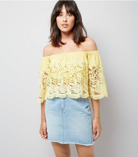 Blue Vanilla Yellow Lace Bardot Neck Top | New Look