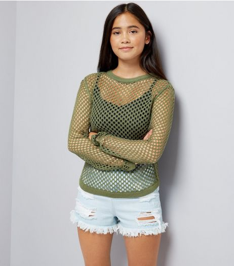 Teens Khaki Long Sleeve Mesh Top | New Look