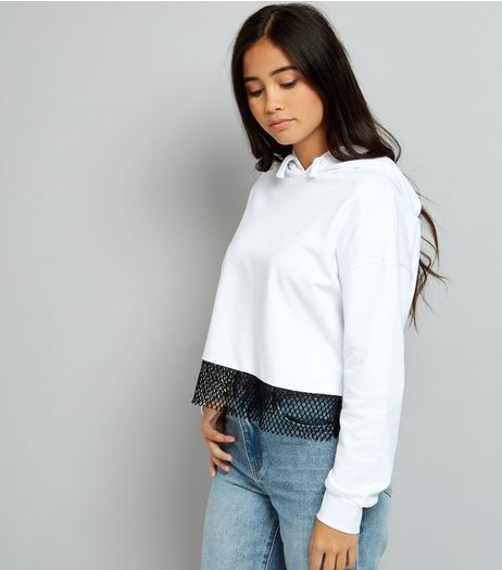 Teens White Contrast Hem Hoodie  | New Look