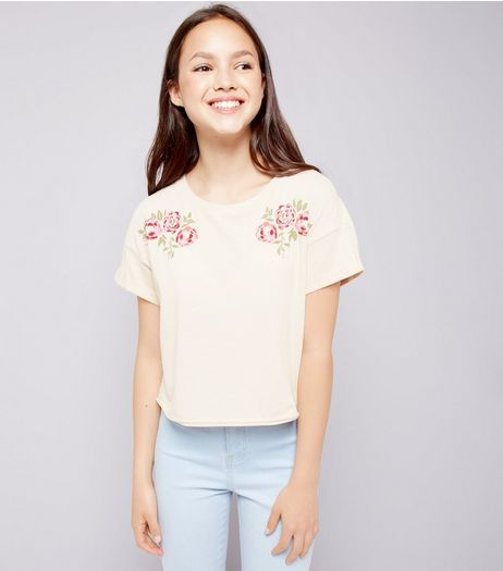 Teens Shell Pink Floral Print T-Shirt | New Look