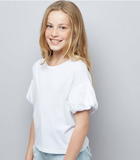 Teens White Puff Sleeve T-Shirt | New Look