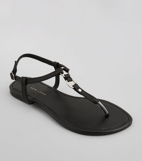 Wide Fit Black Ring Toe Post Sandals | New Look