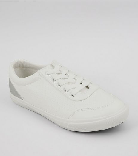 Wide Fit White Back Panel Lace Up Trainers | New Look