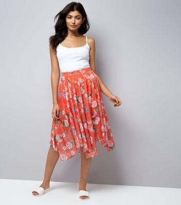 Red Floral Print Mesh Hanky Hem Midi Skirt