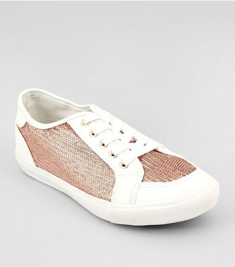 Wide Fit Rose Gold Sequin Panel Lace Up Trainers | New Look